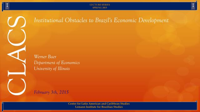 Institutional Obstacles to Brazil's Economic Development
