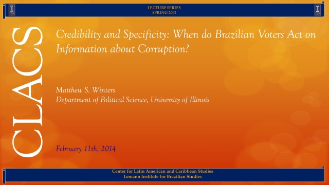Credibility and Specificity: When do Brazilian Voters Act on Information about Corruption?