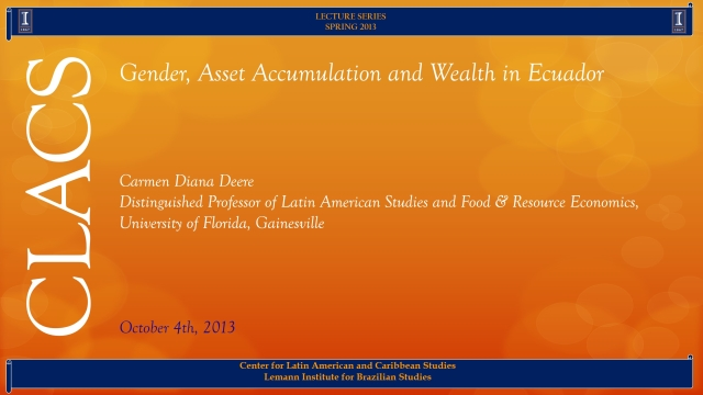Gender, Asset Accumulation and Wealth in Ecuador
